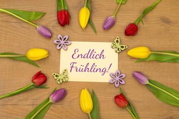 Tulpen und Karte: Endlich Frühling