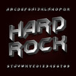3D Hard rock alphabet font. Metal effect beveled letters and numbers. Stock vector typescript for your design.