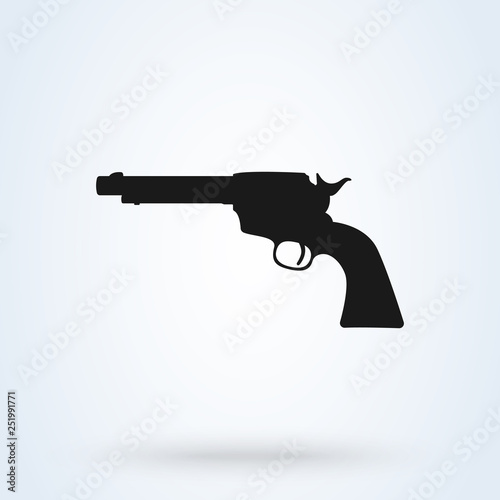 Pistol Gun Icon Vector Illustration on the white background © studiographicmh