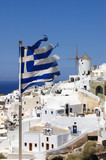 View on Santorini with greece flag