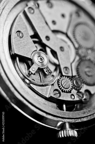 Mechanism of wrist watches in the clear closeup. Shallow depth of field - 252019763
