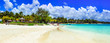 Relaxing tropical holidays. white sandy beach Bell Mare in beautiful Mauritius island