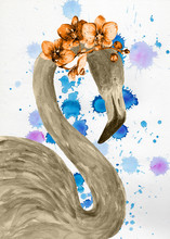 "Постер, картина, фотообои ""Watercolor flamingo with exotic flowers. Hand drawn illustration."""