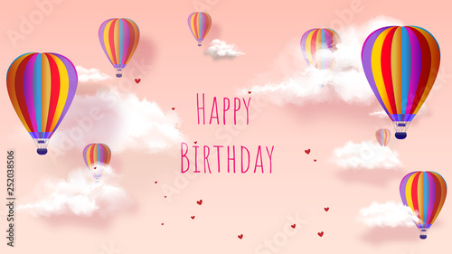 Happy Birthday - Greeting card. Hot air balloon on sweet pink background.