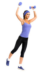 woman in violet sportswear, doing fitness exercise with dumbbells © vgstudio