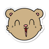 sticker of a cute cartoon teddy bear face