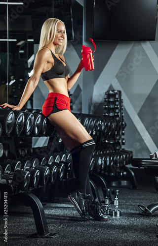 Young beautiful woman training in the gym. Concept of fitness, workout, sport, health - 252044113