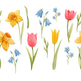 Watercolor spring floral vector pattern - 252046931