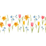 Watercolor spring floral vector pattern - 252046965