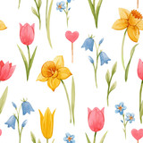 Watercolor spring floral vector pattern - 252047365