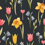 Watercolor spring floral vector pattern - 252047508