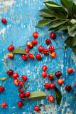 Fresh cherry on wooden blue background