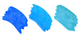 Watercolor set of blue brush strokes with texture of salt