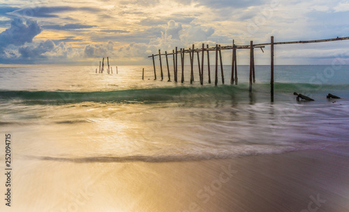 Beautiful sunset with old wooden bridge at Khao Pilai in Phang- Nga Province, Thailand © he68