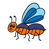 Cartoon doodle linear midge, fly isolated on white background. Vector illustration.    - 252107175