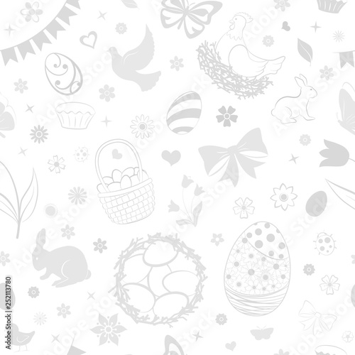 Seamless pattern of eggs, flowers, cakes, hare, hen, chicken and other Easter symbols in white and gray colors
