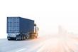 Leinwanddruck Bild - Truck run on road, Drive on road, transportation logistics concept