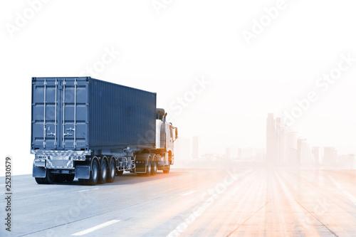 Leinwanddruck Bild Truck run on road, Drive on road, transportation logistics concept