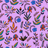Colorful floral seamless pattern with hand drawn flowers, branches and leaves with black outline. Vector illustration. - 252131754