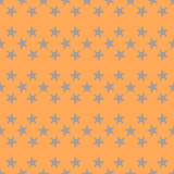 Colorful orange, gray star seamless pattern.  Striped wrapping paper. Vector illustration. - 252132346