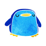 retro cartoon kawaii of a cute penguin