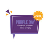 Vector flat design card, illustration about Purple Day, worldwide awereness about epilepsy. - 252169380