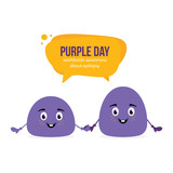 Two cute vector cartoon blob characters holding hands, speaking, informing about Purple Day, worldwide awereness about epilepsy. - 252169390