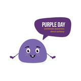 Cute vector cartoon style blob character speaking, informing about Purple Day, worldwide awereness about epilepsy. - 252169397