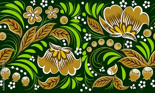 Russian folk pattern on green background. seamless pattern. Khokhloma - 252171914