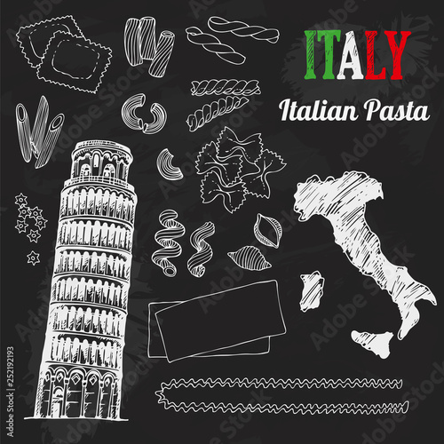 Italy set. Food collection of hand drawn italian flag, map, pasta, Tower of Pisa, Italia lettering set - 252192193