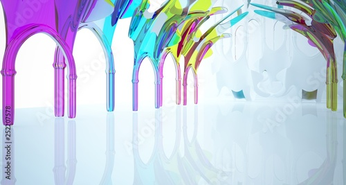 Leinwanddruck Bild Abstract white and colored gradient smooth glasses gothic interior. 3D illustration and rendering.