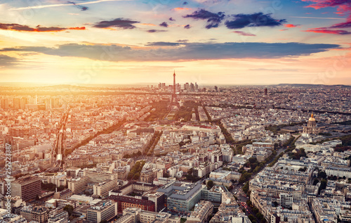 obraz lub plakat Paris, France at sunset, aerial view.