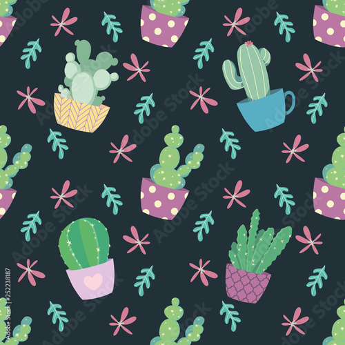 Seamless pattern with cute and bright cartoon cactus plants and flowers on dark background © Firn