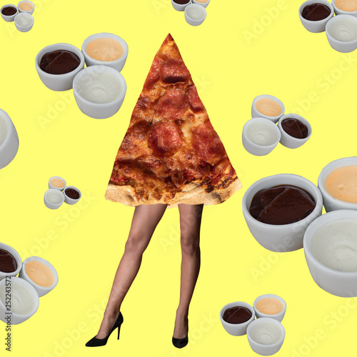 Contemporary art collage. Minimal design fashion concept female beauty and pizza. © Liliia
