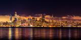Panorama bunt skyline San Francisco Spiegelung