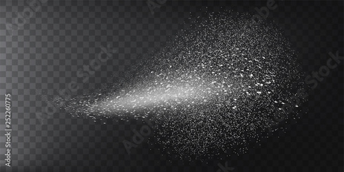 Transparent water spray mist of atomizer or smoke, paint dust particles. Vector illustration