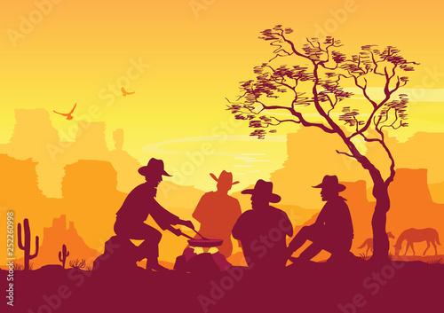 Cowboys around a campfire. Western American desert landscape