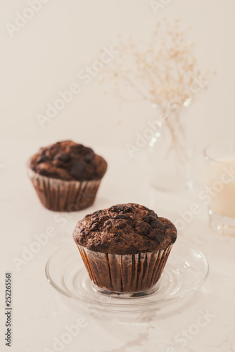 Dellicious homemade chocolate muffin on table. Ready to eat.
