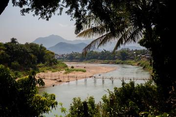 Bamboo bridge in Luang Prabang © sitriel