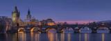 Beautiful panorama night view of Charles Bridge over Vltava river in Prague city,