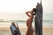 Leinwanddruck Bild - Sexy woman is posing beside the driftwood on the beach