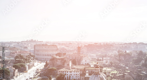 obraz PCV Rome aerial view, Italy city skyline with landmarks of the Ancient Rome
