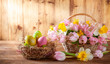 Easter holiday basket with beautiful spring flowers and nest with Easter eggs.