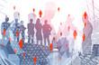 Leinwanddruck Bild - Business people in city, global network