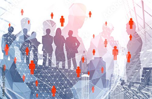 Leinwanddruck Bild Business people in city, global network