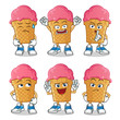 ice cream expressions pack 3 mascot vector cartoon illustration