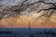 Paris, France - 02 24 2019: Montmartre at sunset. View of Paris from sacred heart