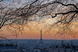 Fototapeta Wieża Eiffla - Paris, France - 02 24 2019: Montmartre at sunset. View of Paris from sacred heart © Franck Legros
