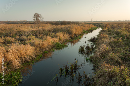 Small calm river with shores with dry grass