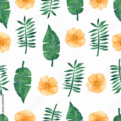 Hand draw tropical yellow flowers and green leaves pattern on white background. © mayillustration